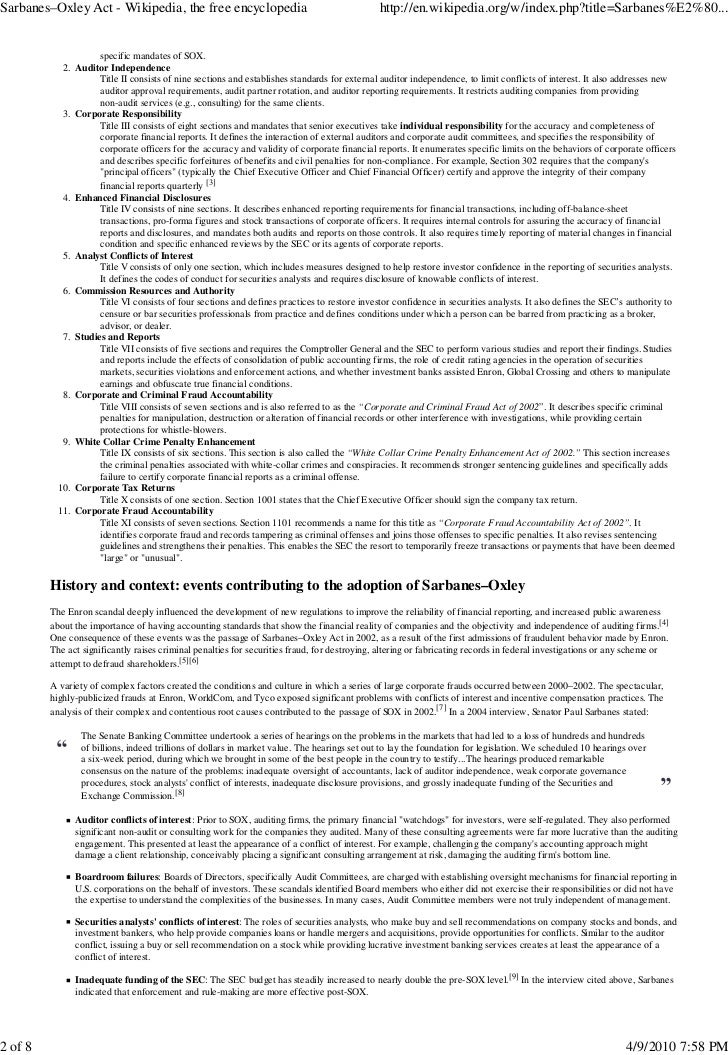 sox act essay Sarbanes-oxley act research assignment paper (essay sample) summary of sarbanes-oxley act the us congress passed sox into law in 2002 with the main objective of.