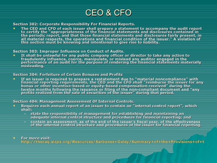 sarbanes oxley act 2002 section 302 Ceo and cfo certification under sarbanes-oxley the president signed the sarbanes-oxley act of 2002 into unlike section 302, does not amend the exchange act.