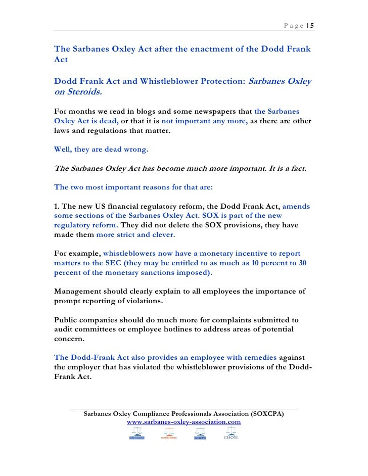essays on sarbanes oxley act The congress passed the sarbanes-oxley act in july 2002 to respond to the numerous accounting scandals in the corporate.
