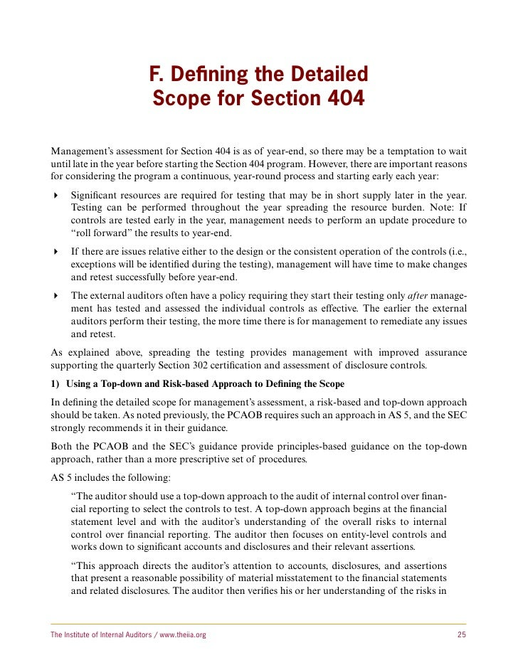 the effect of sox section 404 The sarbanes-oxley act and corporate investment: comply with section 404 of sox  us firms that are not affected by sox— to isolate the effects of.
