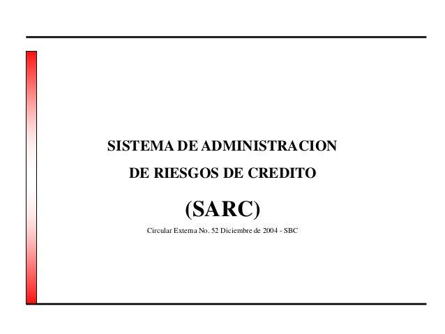 SISTEMA DE ADMINISTRACION DE RIESGOS DE CREDITO (SARC) Circular Externa No. 52 Diciembre de 2004 - SBC