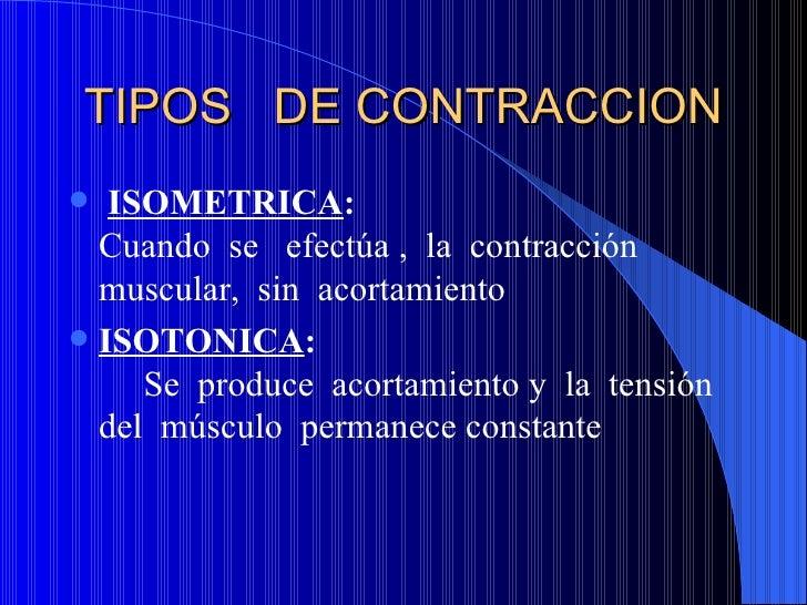 TIPOS  DE CONTRACCION <ul><li>ISOMETRICA :  Cuando  se  efectúa ,  la  contracción  muscular,  sin  acortamiento </li></ul...