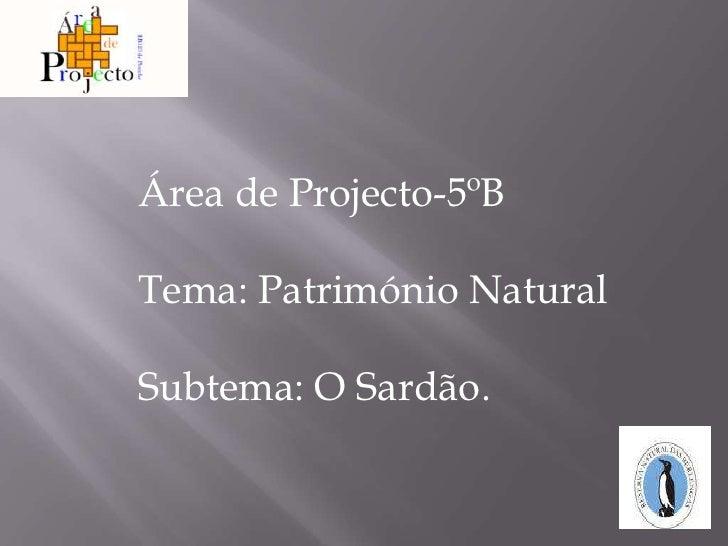 Área de Projecto-5ºB <br />Tema: Património Natural<br />Subtema: O Sardão.<br />