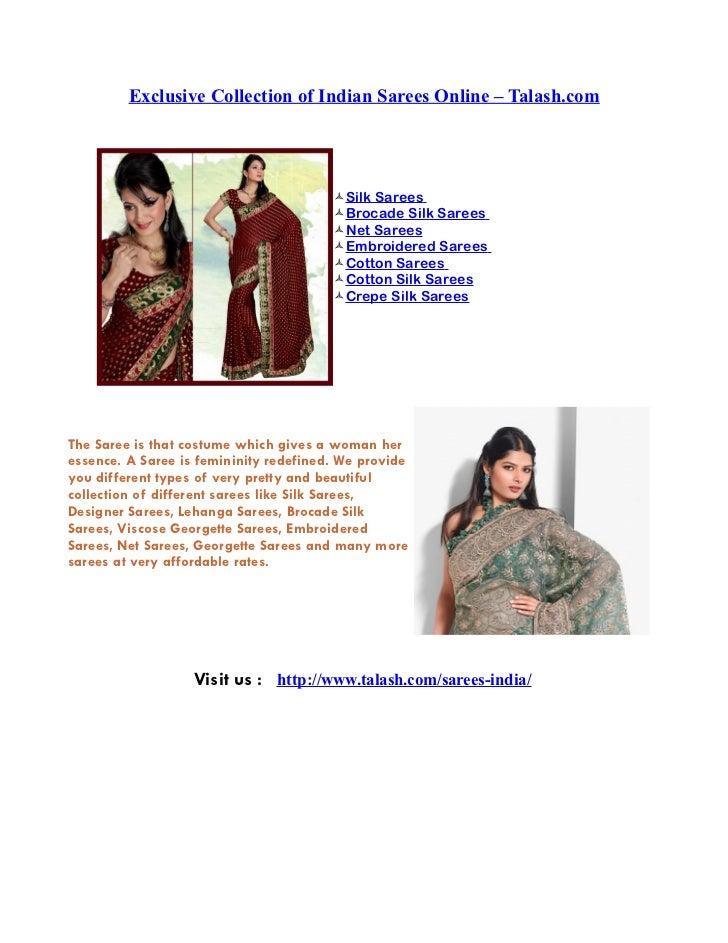 Exclusive Collection of Indian Sarees Online – Talash.com                                             Silk Sarees        ...