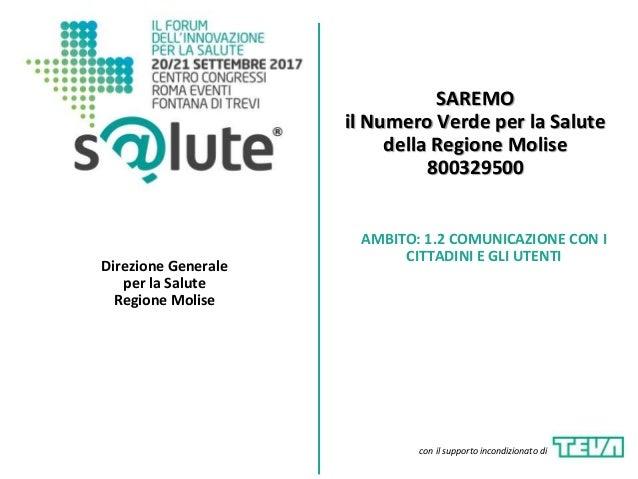 SAREMO il Numero Verde per la Salute della Regione Molise 800329500 Direzione Generale per la Salute Regione Molise AMBITO...