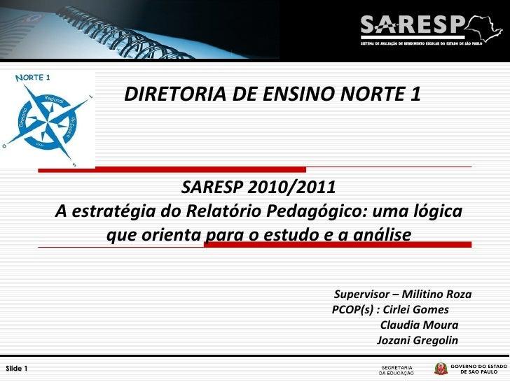 SARESP 2010/2011 A estratégia do Relatório Pedagógico: uma lógica que orienta para o estudo e a análise Supervisor – Milit...