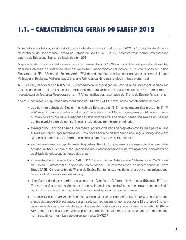 DO 2012 PROVAS BAIXAR SARESP