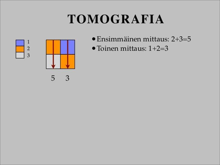 TOMOGRAFIA1           •Ensimmäinen mittaus: 2+3=52           •Toinen mittaus: 1+2=33    5   3