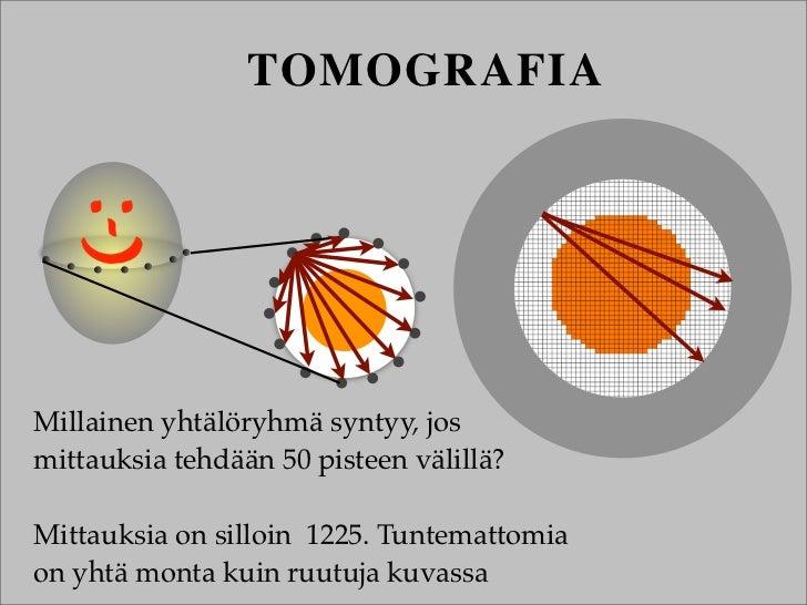 TOMOGRAFIAMillainen yhtälöryhmä syntyy, josmittauksia tehdään 50 pisteen välillä?Mittauksia on silloin 1225. Tuntemattomia...