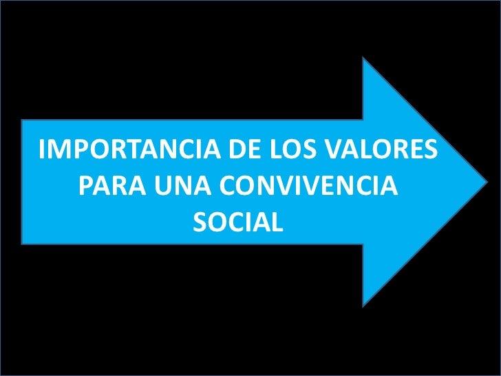 IMPORTANCIA DE LOS VALORES  PARA UNA CONVIVENCIA         SOCIAL