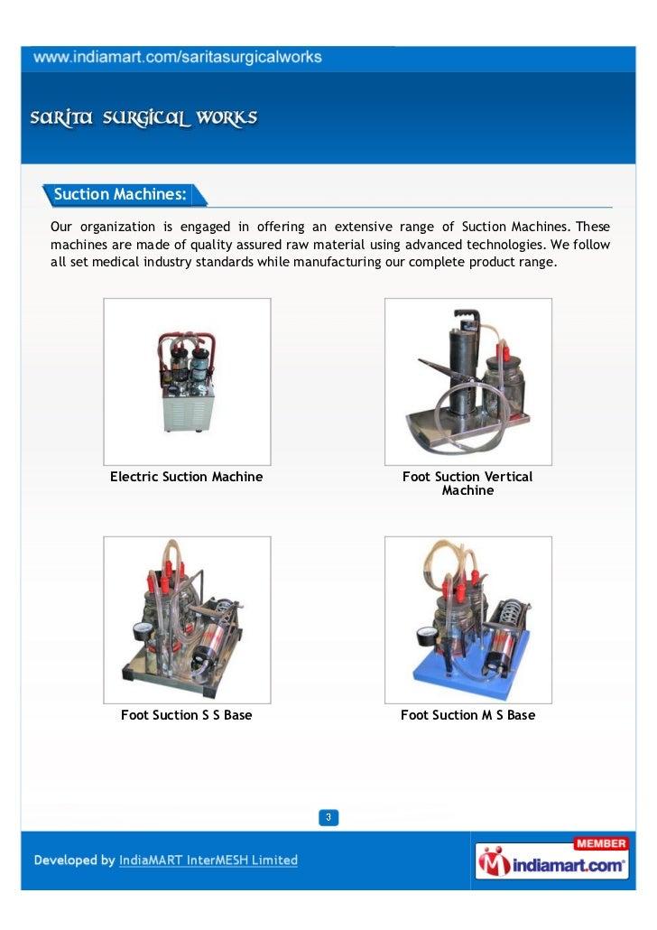 Sarita Surgical Works, New Delhi, Electric Suction Machine Slide 3