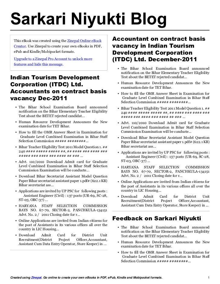 Sarkari Niyukti Blog  This eBook was created using the Zinepal Online eBook              Accountant on contract basis  Cre...