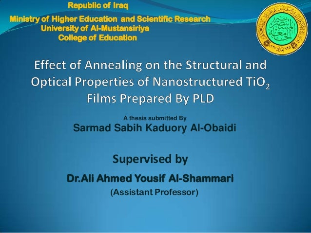 Republic of IraqMinistry of Higher Education and Scientific Research         University of Al-Mustansiriya             Col...