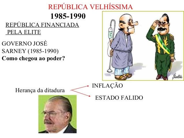 REPÚBLICA VELHÍSSIMA  1985-1990 REPÚBLICA FINANCIADA PELA ELITE GOVERNO JOSÉ SARNEY (1985-1990) Como chegou ao poder?  Her...