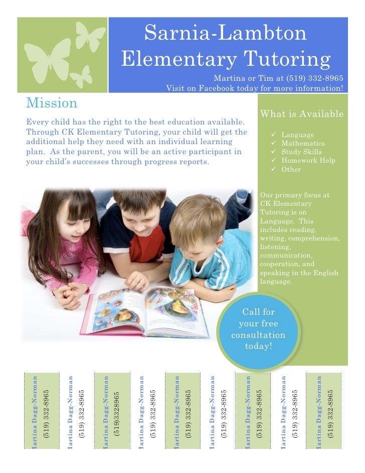 Sarnia Lambton Elementary Tutoring Flyer