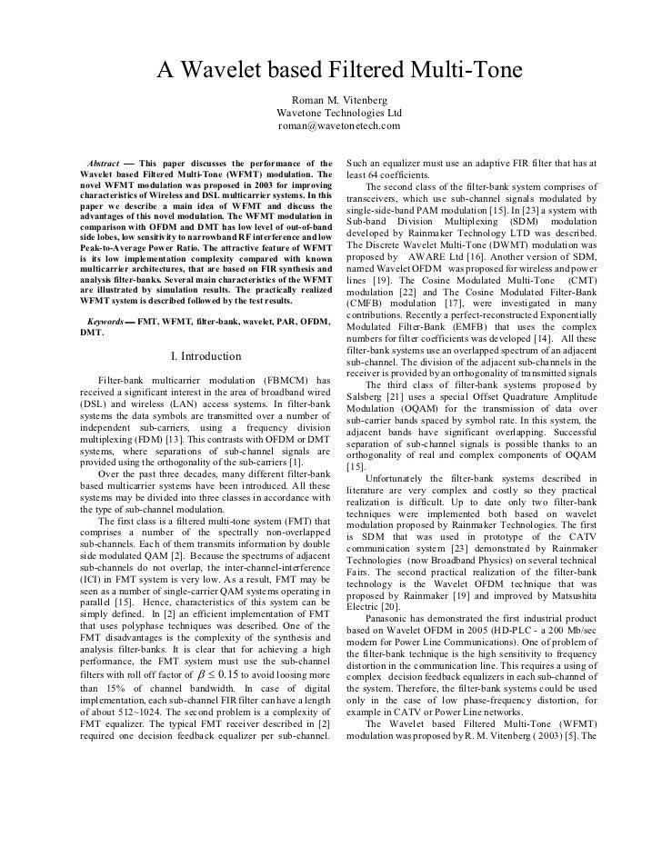 A Wavelet based Filtered Multi-Tone                                                    Roman M. Vitenberg                 ...