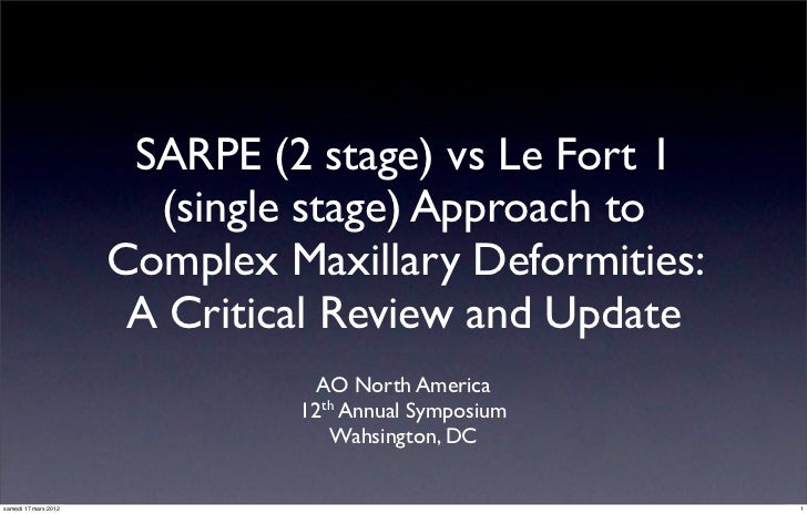 SARPE (2 stage) vs Le Fort 1                        (single stage) Approach to                      Complex Maxillary Defo...