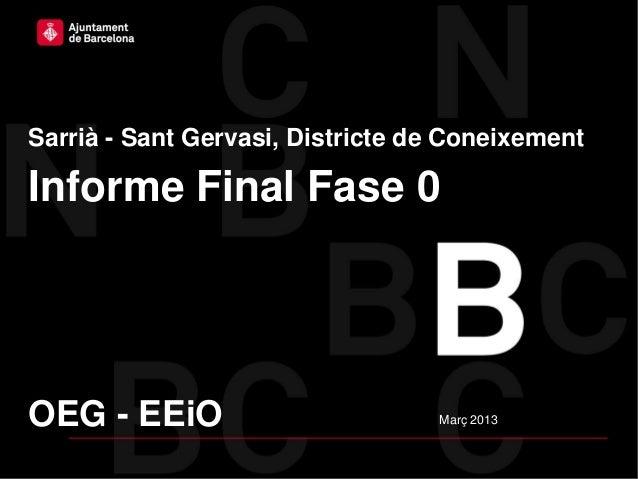 Ajuntament de Barcelona – Districte de Sarrià – Sant GervasiSarrià - Sant Gervasi, Districte de ConeixementInforme Final F...