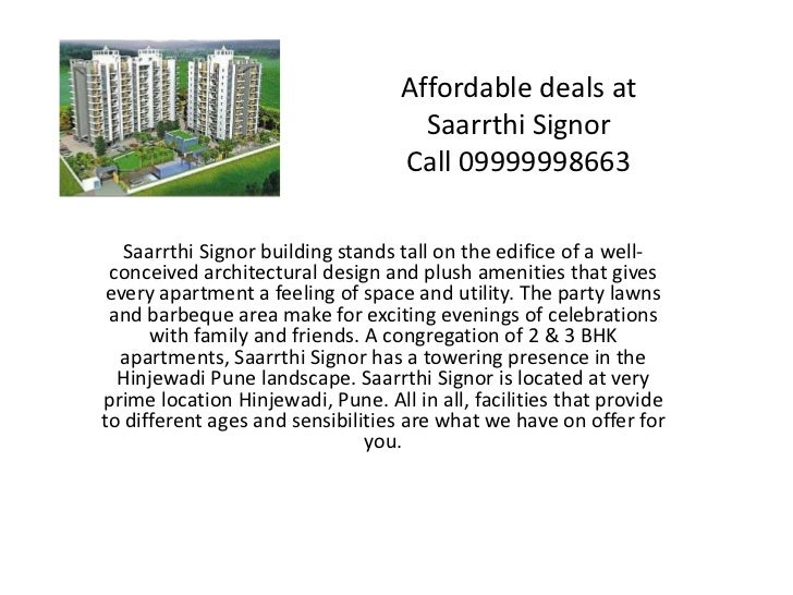 Affordable deals at Saarrthi SignorCall 09999998663<br />Saarrthi Signor building stands tall on the edifice of a well-con...