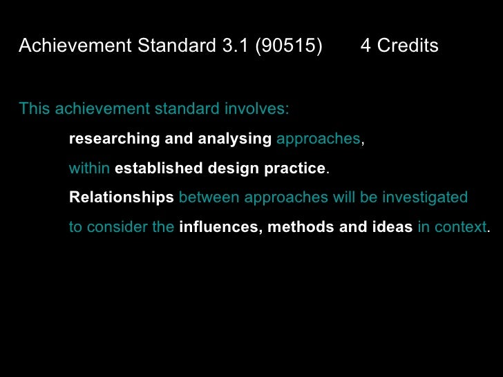 Achievement Standard 3.1 (90515)  4 Credits This achievement standard involves: researching and analysing   approaches ,  ...