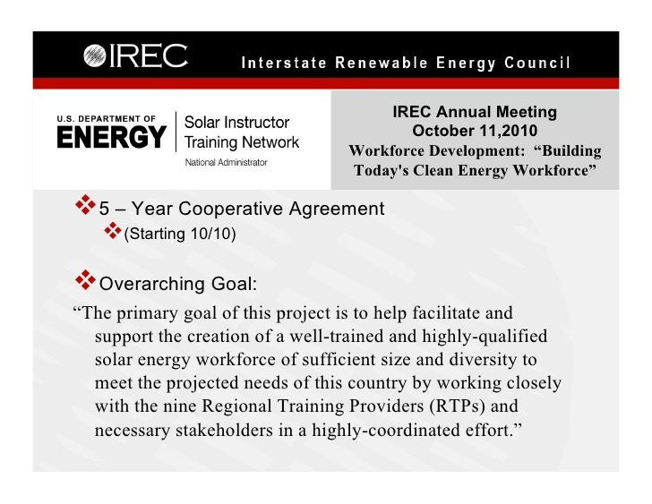 IREC Annual Meeting                                           October 11,2010                                   Workforce ...