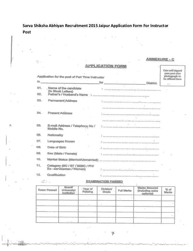 Sarva Shiksha Abhiyan Recruitment 2015 Jaipur Application Form For In…