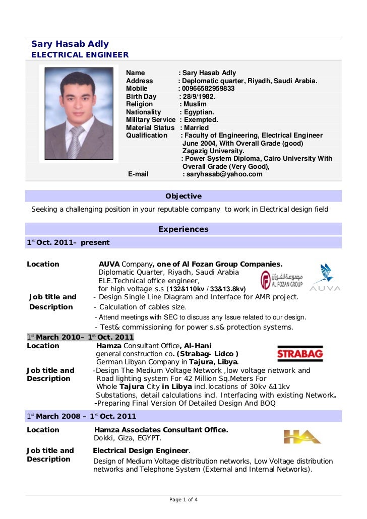 sary hasab adly electrical engineer - Electrical Project Engineer Sample Resume
