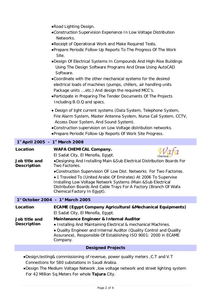 page 1 of 4 2 road lighting design - Machine Design Engineer Sample Resume