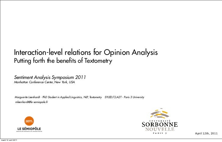 Interaction-level relations for Opinion Analysis Putting forth the benefits of Textometry