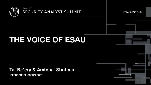 THE VOICE OF ESAU Tal Be'ery & Amichai Shulman Independent researchers
