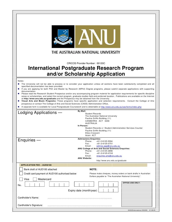 CRICOS Provider Number: 00120C             International Postgraduate Research Program                     and/or Scholars...