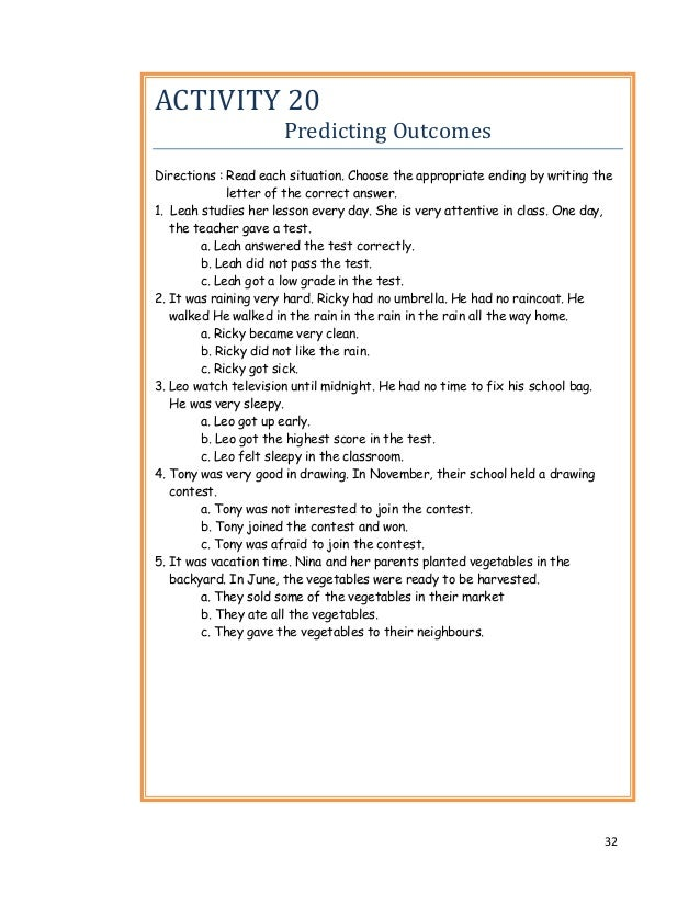 Instructional Materials For Grade Two Pupils – Predicting Outcomes Worksheets