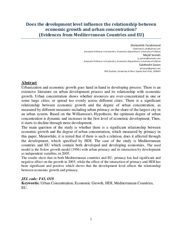 Does the development level influence the relationship between            economic growth and urban concentration?         ...