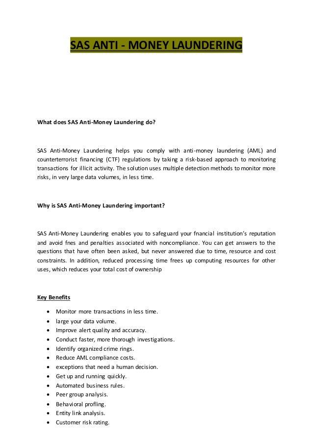 Sas Anti Money Laundering Training