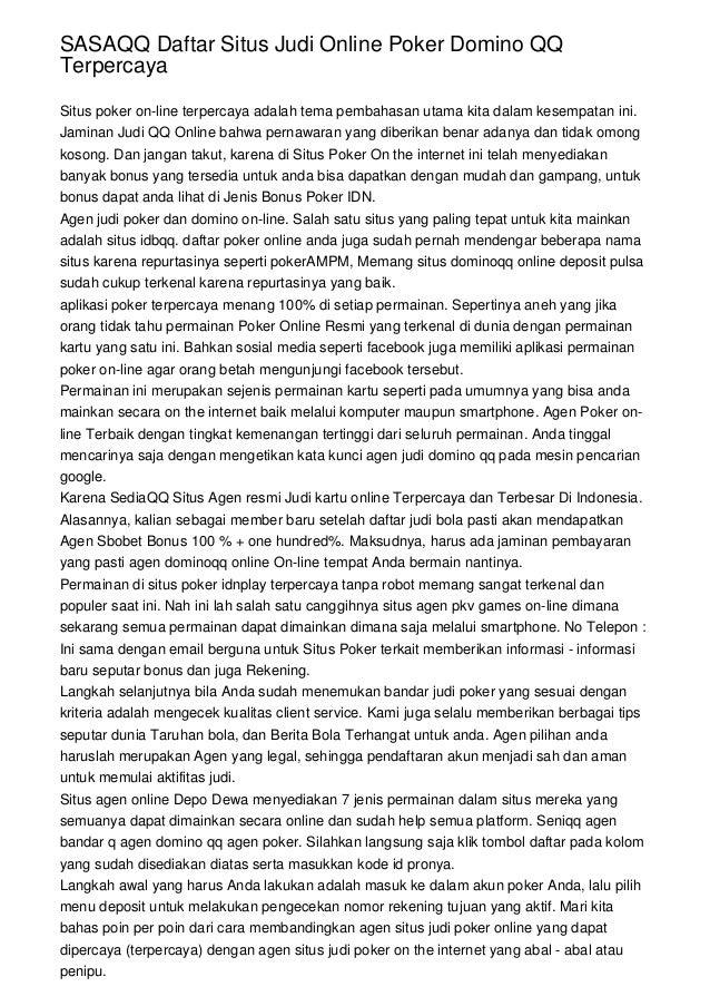Sasaqq Daftar Situs Judi Online Poker Domino Qq Terpercaya