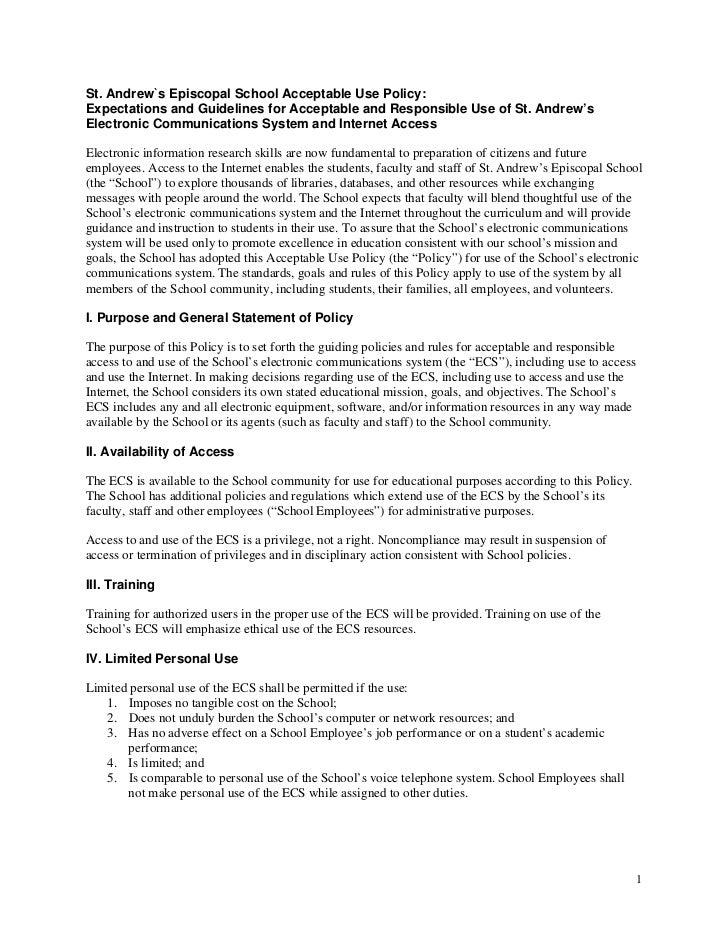 St. Andrew`s Episcopal School Acceptable Use Policy:Expectations and Guidelines for Acceptable and Responsible Use of St. ...