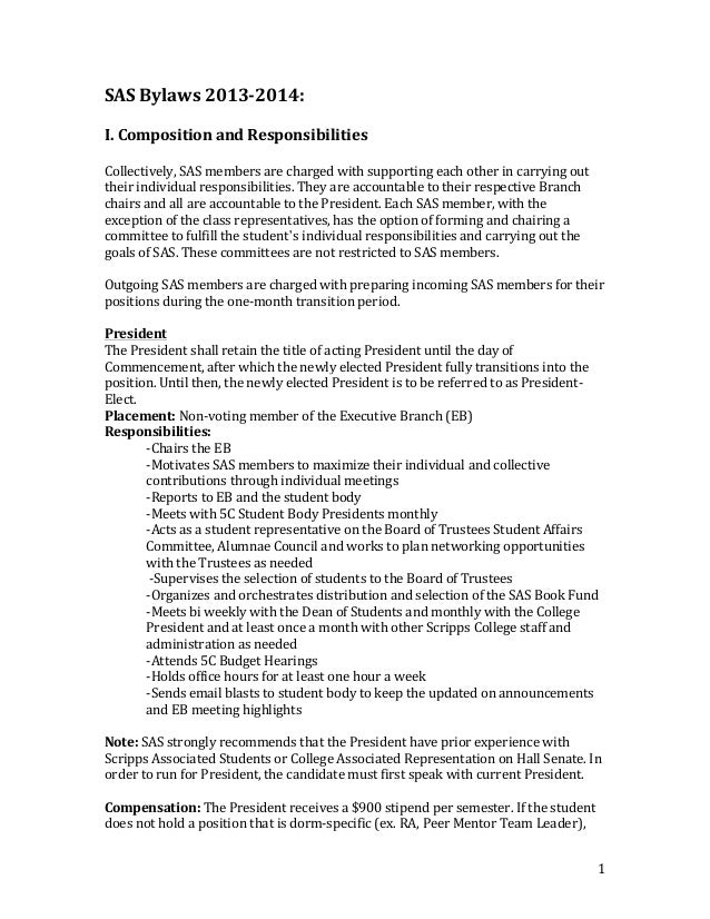 SAS	   Bylaws	   2013-­‐2014:	    	    I.	   Composition	   and	   Responsibilities	    	     Collectively,	   SAS	   memb...