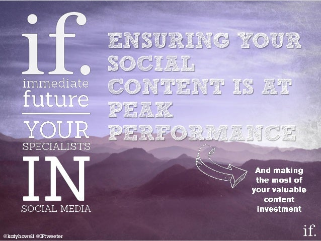 ENSURING YOUR SOCIAL CONTENT IS AT PEAK PERFORMANCE @katyhowell @IFtweeter
