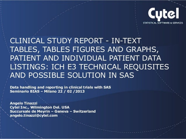 Geneva Branch  CLINICAL STUDY REPORT - IN-TEXT TABLES, TABLES FIGURES AND GRAPHS, PATIENT AND INDIVIDUAL PATIENT DATA LIST...