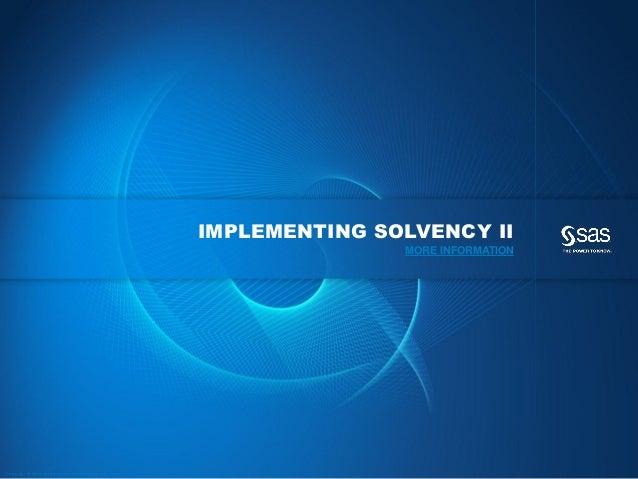 IMPLEMENTING SOLVENCY II                                                                                                  ...