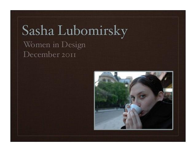 Sasha Lubomirsky Women in Design December 2011
