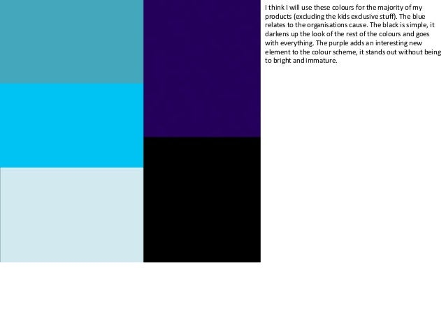Here is an idea for the main kids colour scheme. I have kept 3 shades of blue so that you see that they are connected, how...