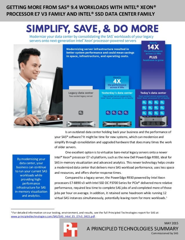 MAY 2015 A PRINCIPLED TECHNOLOGIES SUMMARY Commissioned by SAS GETTING MORE FROM SAS® 9.4 WORKLOADS WITH INTEL® XEON® PROC...