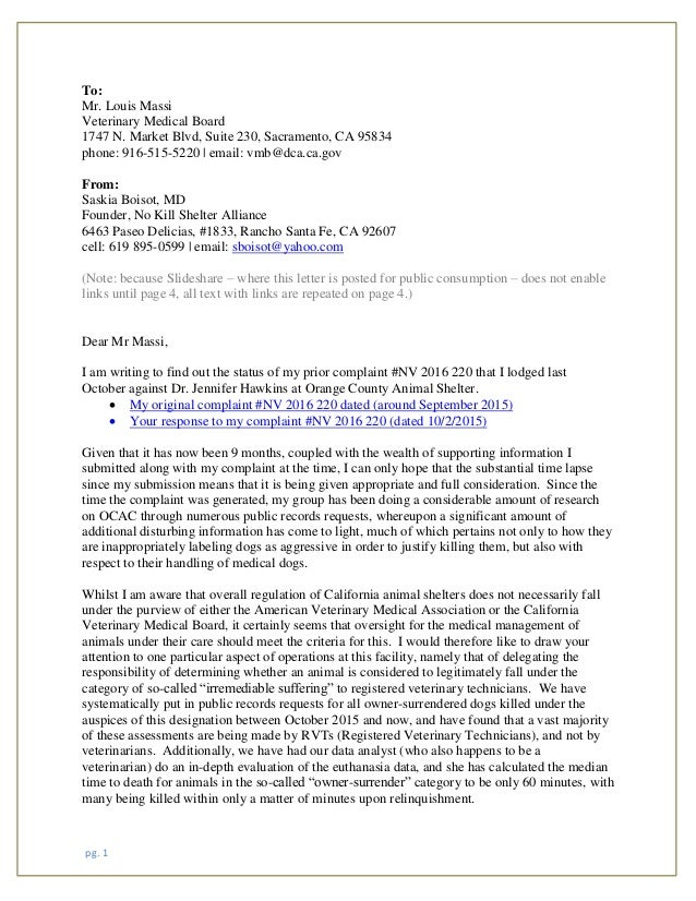 Saskia boisot letter to california vet medical association july 10 20 1 to mr louis massi veterinary medical board 1747 n market thecheapjerseys Gallery