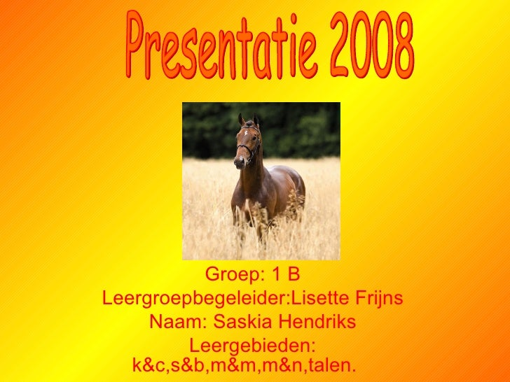 Groep: 1 B Leergroepbegeleider:Lisette Frijns Naam: Saskia Hendriks Leergebieden: k&c,s&b,m&m,m&n,talen.   Presentatie 2008