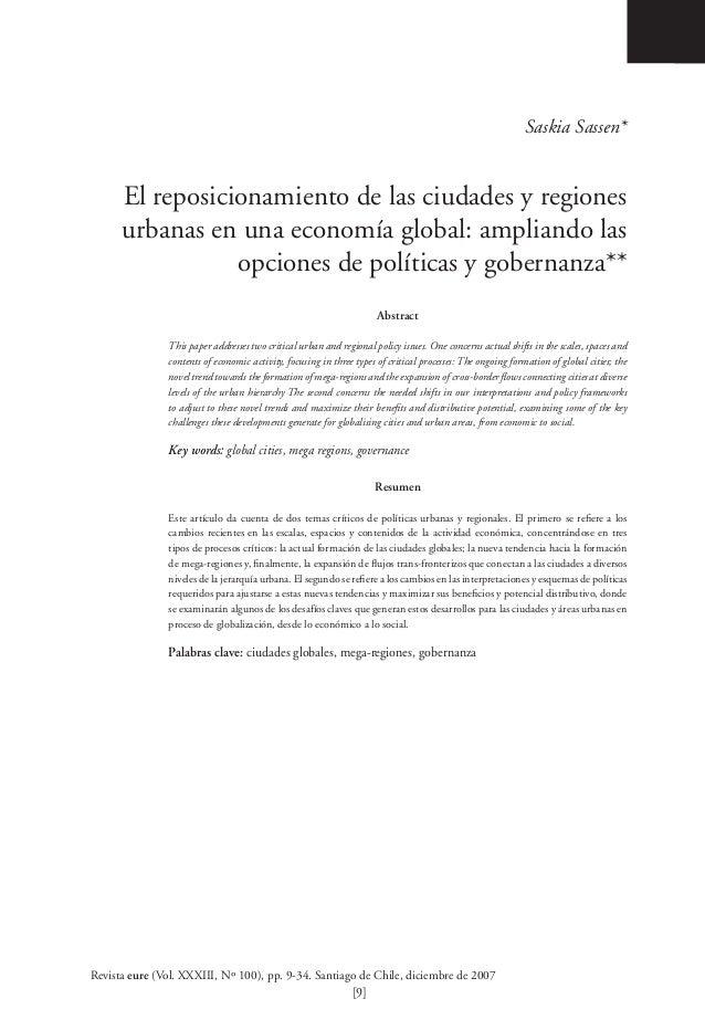 Saskia Sassen*      El reposicionamiento de las ciudades y regiones      urbanas en una economía global: ampliando las    ...