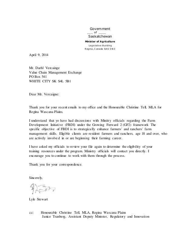 Government ___ of ____ Saskatchewan Minister of Agriculture Legislative Building Regina, C anada SA S O B3 April 9, 2014 M...