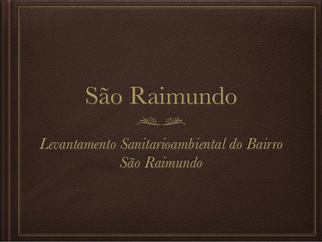 São Raimundo Levantamento Sanitarioambiental do Bairro São Raimundo