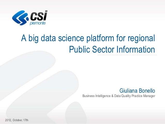 A big data science platform for regional                           Public Sector Information                              ...