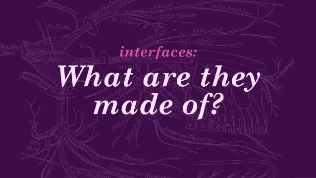 What are they made of? interfaces: